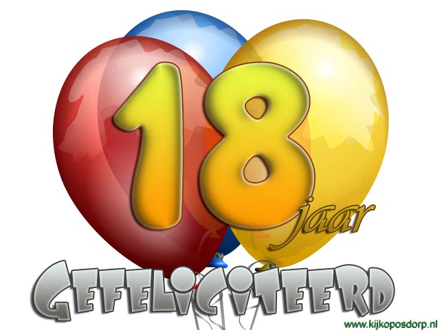 Super jakosawi e-cards - 18 jaar ballon - #BY74