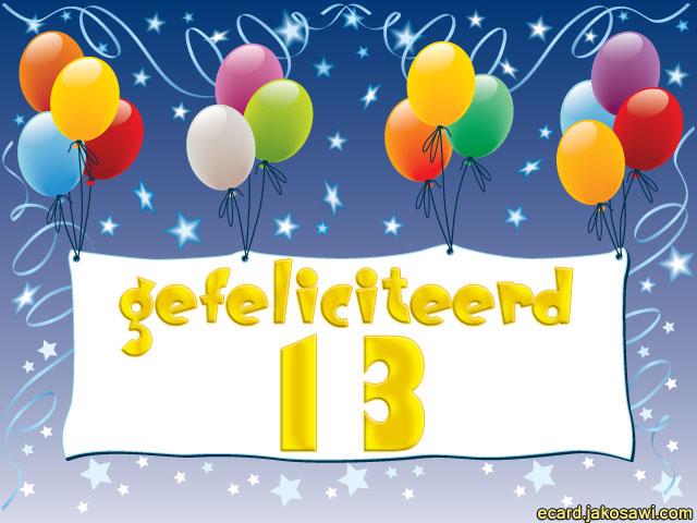 13 jaar gefeliciteerd Verjaardagskaart 13 Jaar Ecard   ARCHIDEV 13 jaar gefeliciteerd