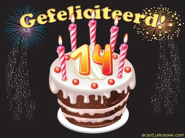 taart 14 Gratis Verjaardagskaart 14 Jaar   ARCHIDEV taart 14
