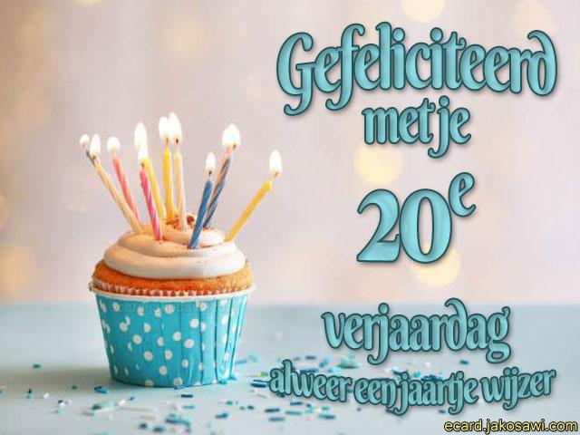 Jakosawi E Cards 20 Jaar Cupcake