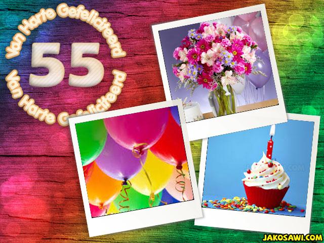 Jakosawi E Cards 55 Jaar Verjaardag Polaroid