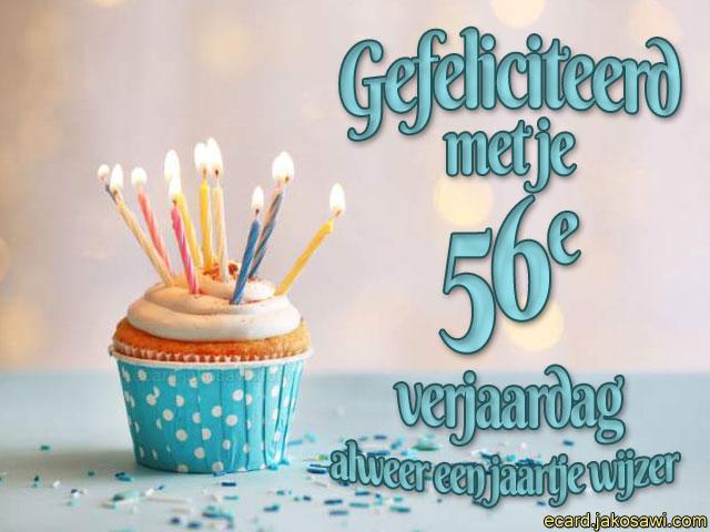 Verjaardag 56.Jakosawi E Cards 56 Jaar Cupcake