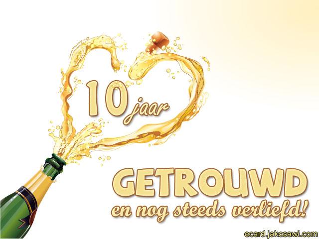 jakosawi e-cards - 10 jaar getrouwd champagne 1301 -