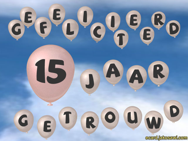 jakosawi e-cards - 15 jaar ballon lucht -