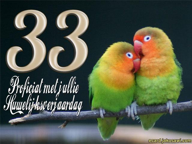 jakosawi e-cards - 33 jaar lovebirds 1401 -